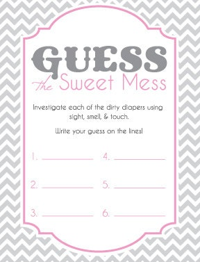 baby shower game cards for guess the sweet mess candy bar game dirty