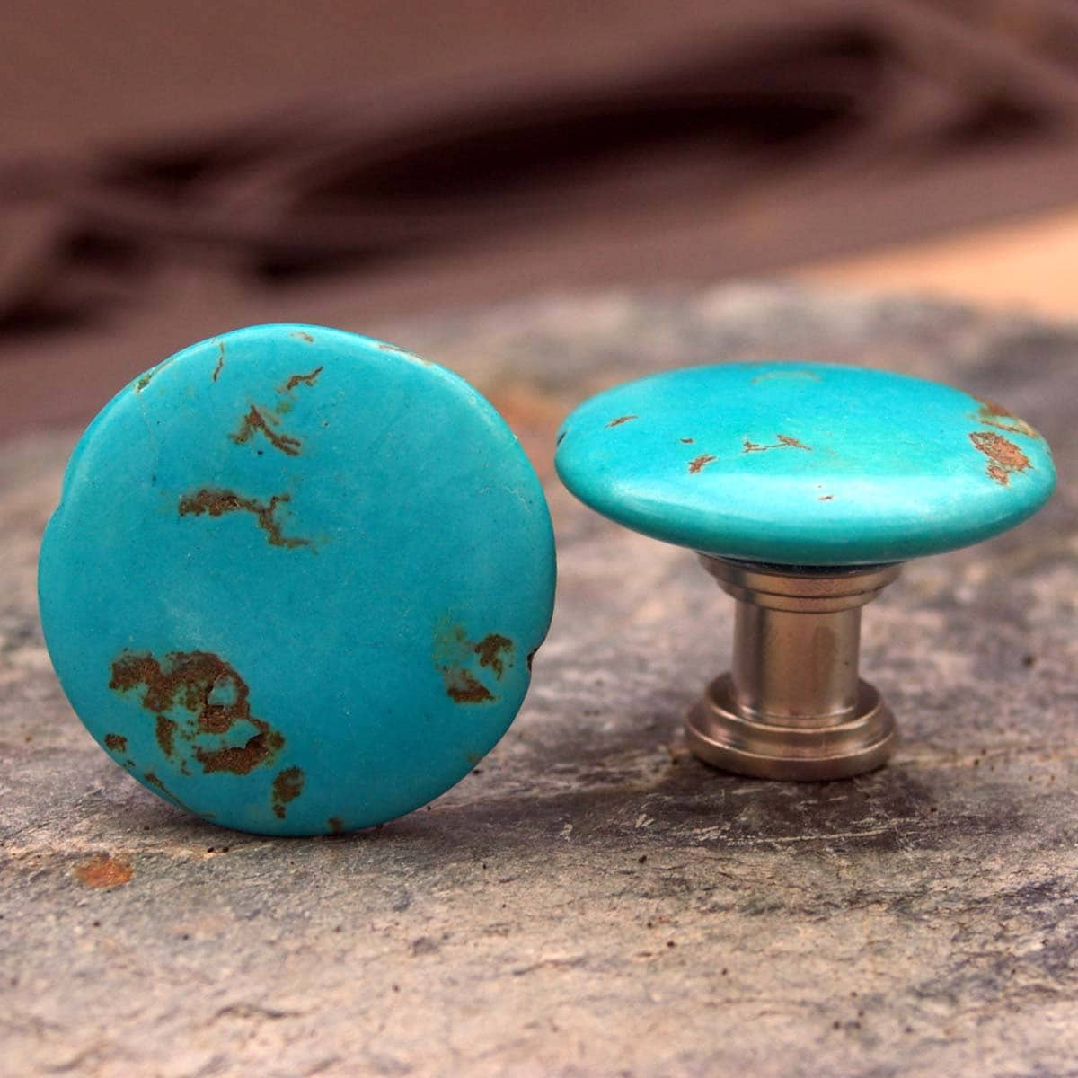 turquoise knobs set of 2 stone cabinet knobs by