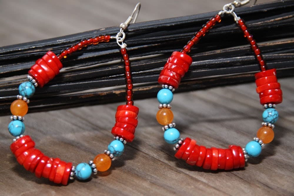 Red Coral Turquoise Carnelian  Dangle Earrings Sterling Silver South Western