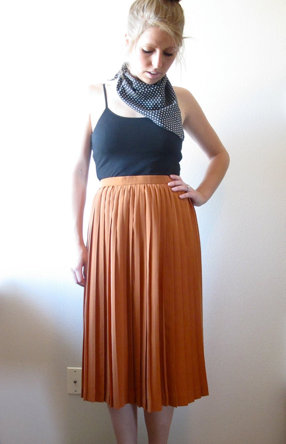 high waisted orange pleated skirt by pdxurbanvintage on etsy