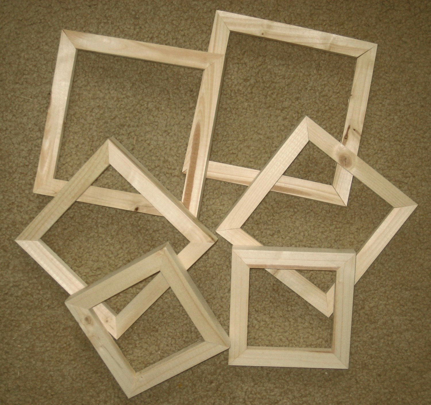 6 unfinished square wood picture frames assortment by ...