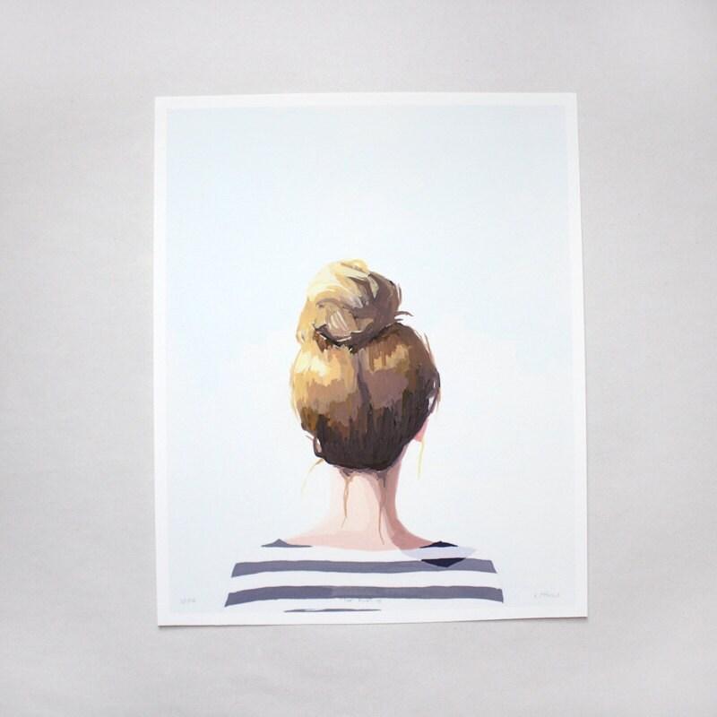 "hair art - bun print - ""Top Knot 18"" giclee print"