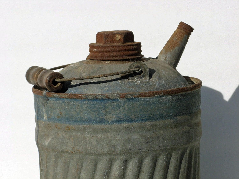 Vintage Kerosene Can Galvanized Metal Industrial By