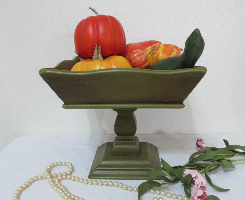Items similar to wood centerpiece pedestal bowl decorative