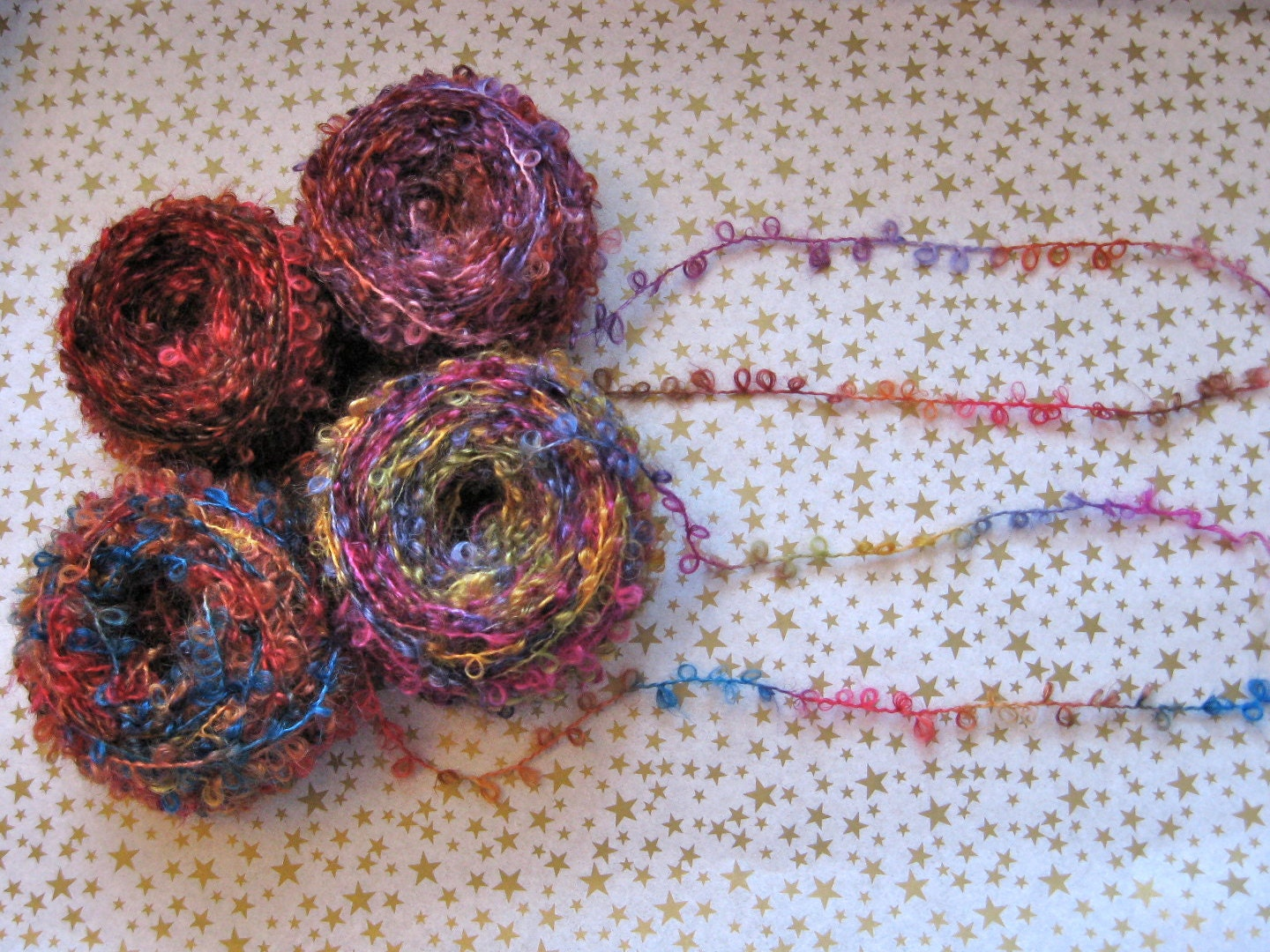 Boucle Yarn : Multicolor Boucle Mohair Yarn by BungalowBear on Etsy