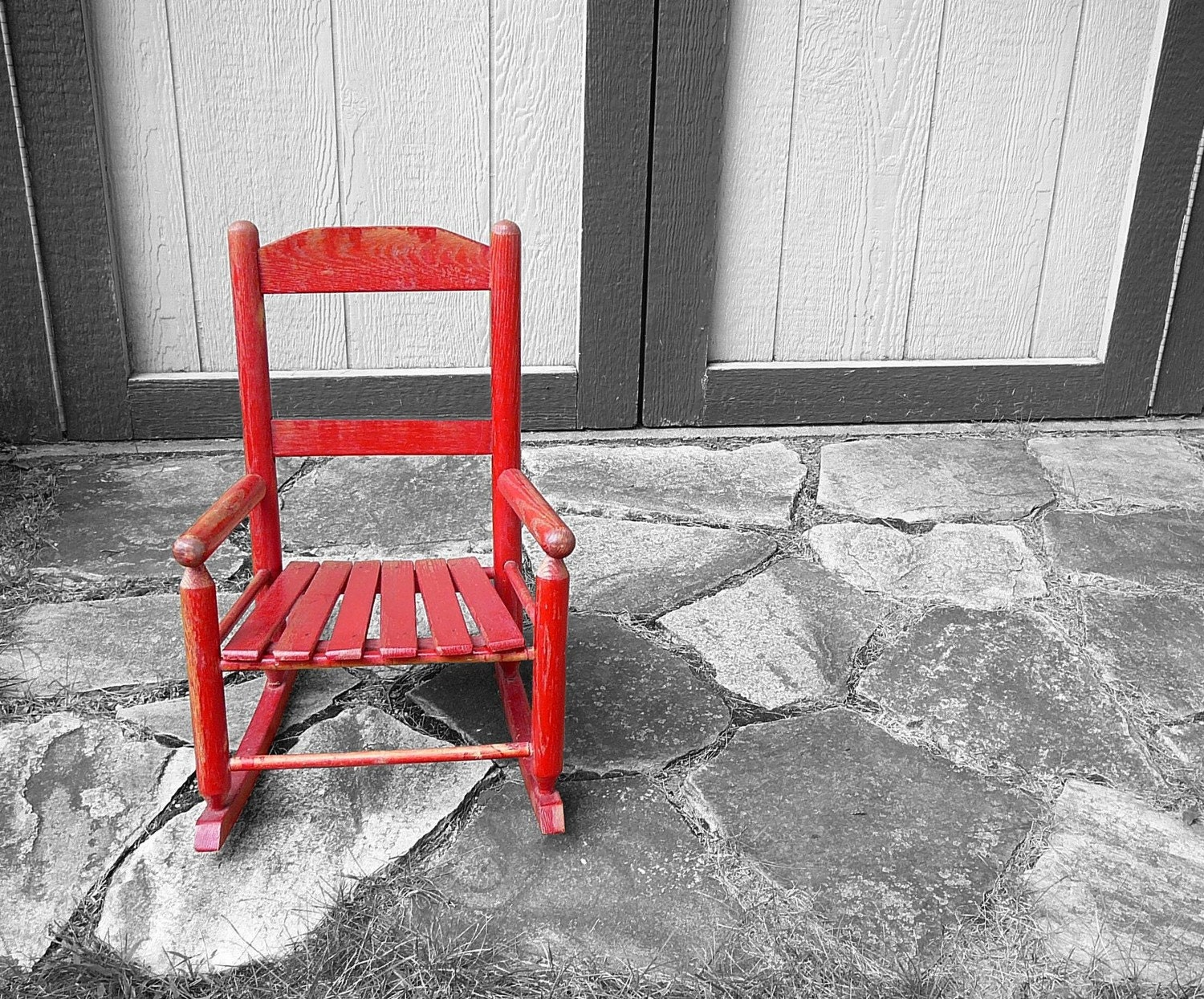 Vintage Little Red Rocking Chair by carpebellus on Etsy