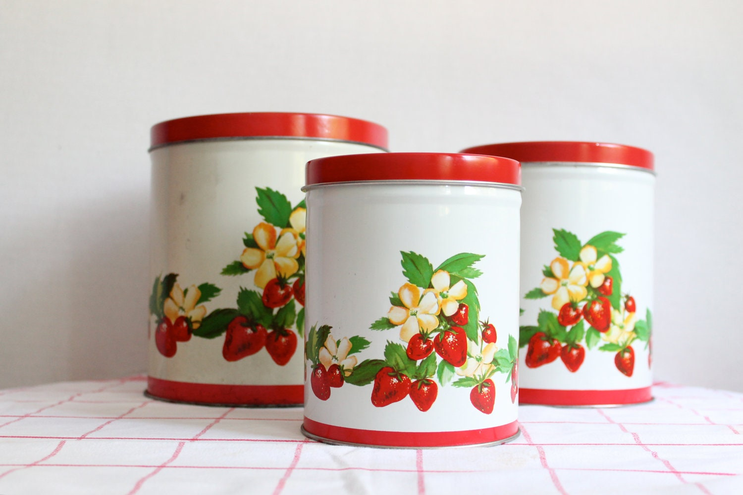 vintage tin strawberry kitchen canisters by