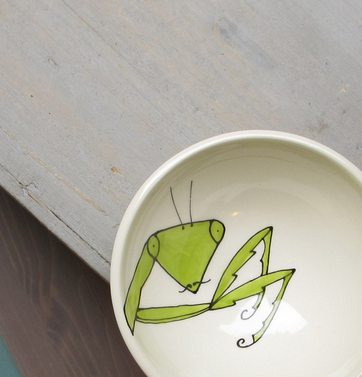 Praying mantis ceramic bowl, insect dish for him - catherinereece