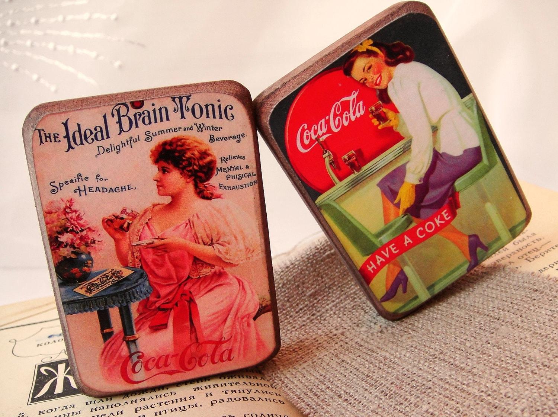 Кока-кола старинные магниты - комплект из 2 - бесплатная доставка