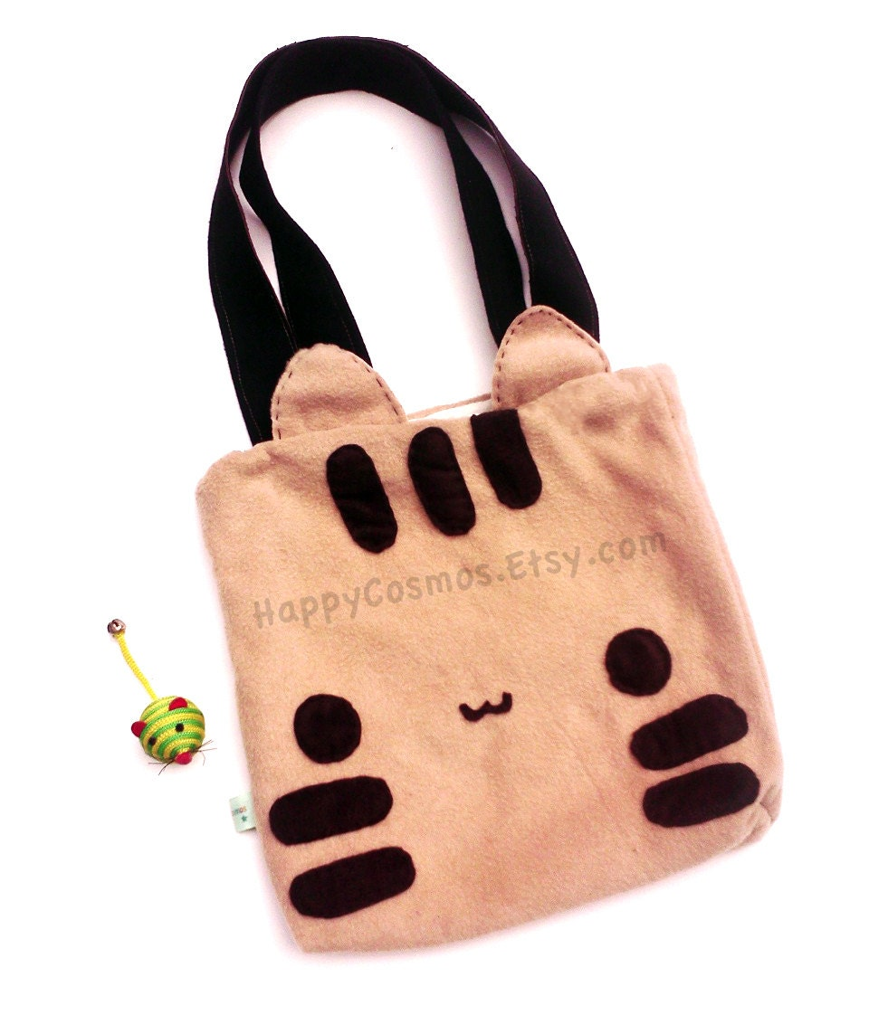 Striped Cat Tote Bag - Cute Market Tote , Kawaii Bag, Bookbag