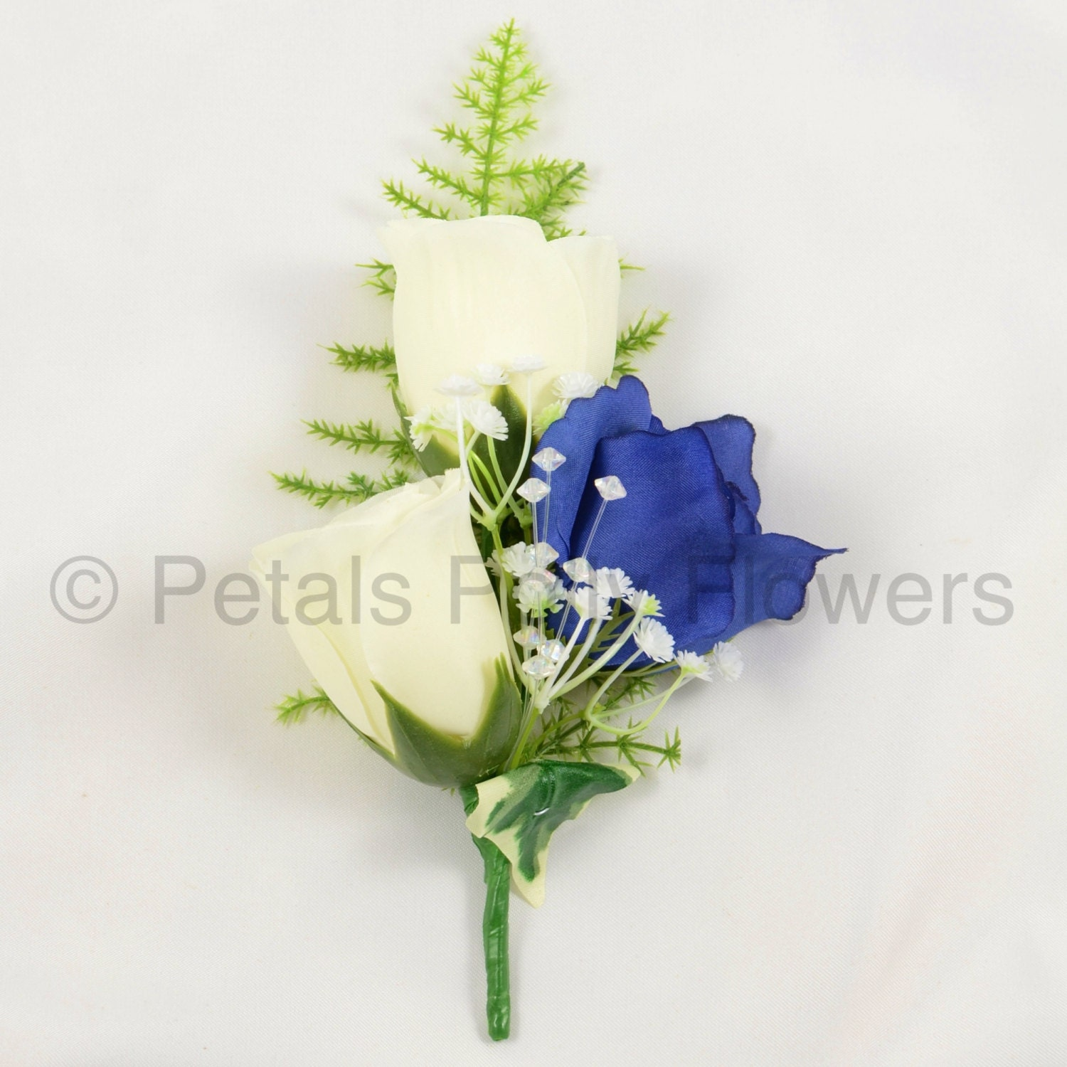 Artificial Wedding Flowers Navy Blue  Ivory Triple Rose Gents Buttonhole  Ladies Corsage