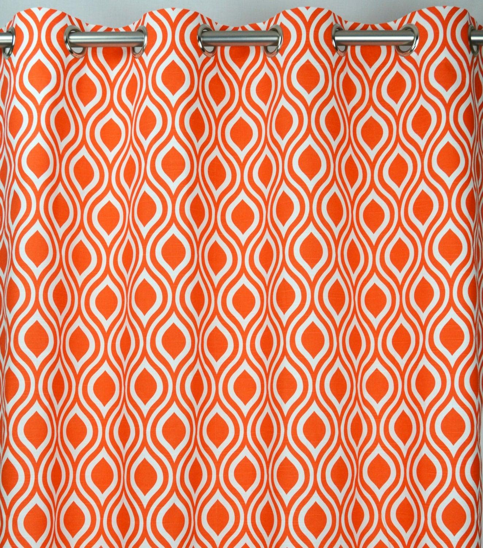 Pair of grommet top curtains in tan gelo orange and white slub