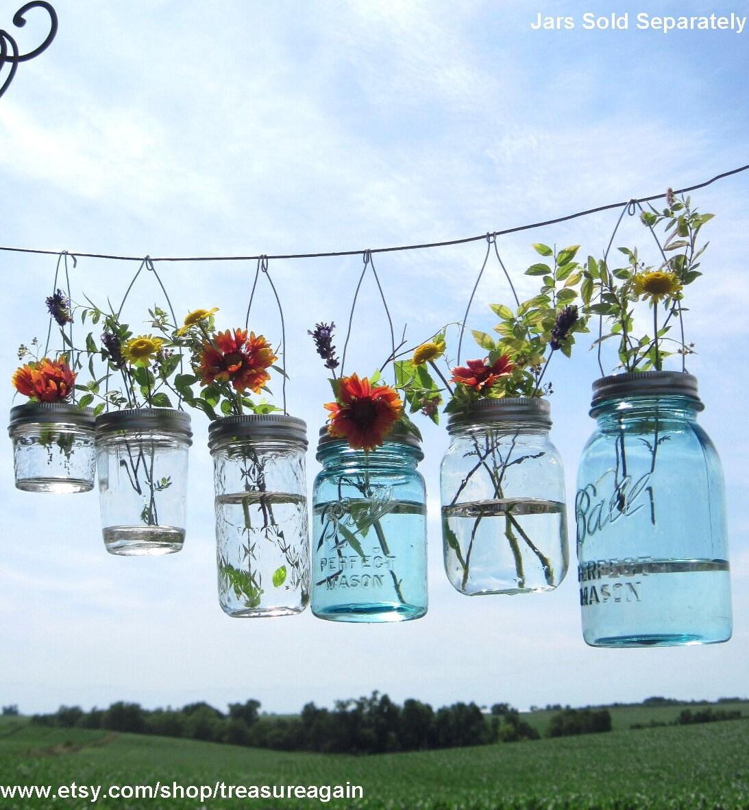 Hook Top Flower Hangers 6 DIY Mason Jar Lids, Weddings Hanging Flower Frog Lids, No Jars
