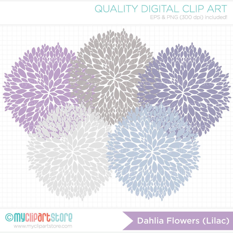 Dahlia Clip Art Dahlia flowers lilac clip art / digital clipart by ...