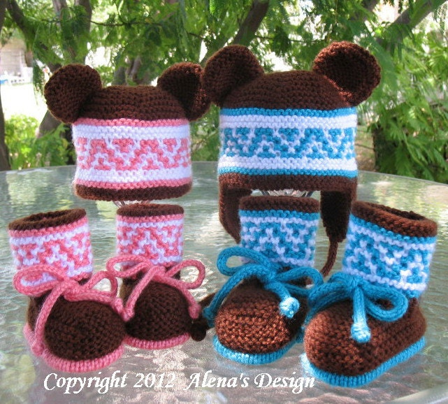 Knitting Pattern For Beanie With Ears : Knitting PATTERN Set Beanie Ear Flap Hat with by AlenasDesign