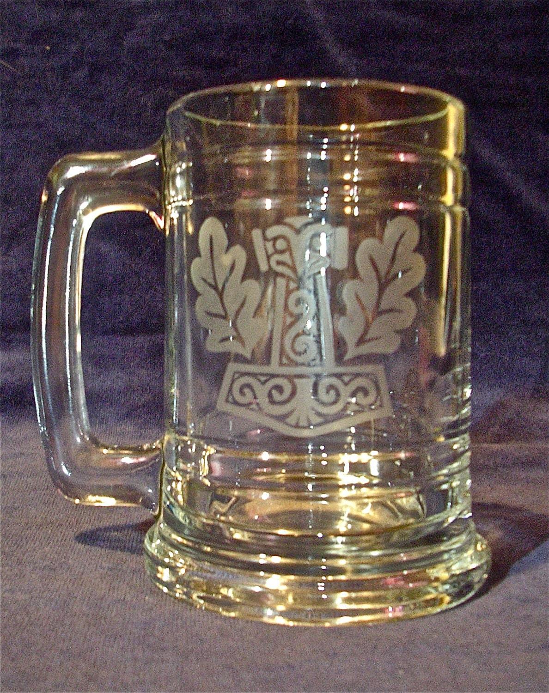 Etched Glass Thor's Hammer (Mjollnir) Mug