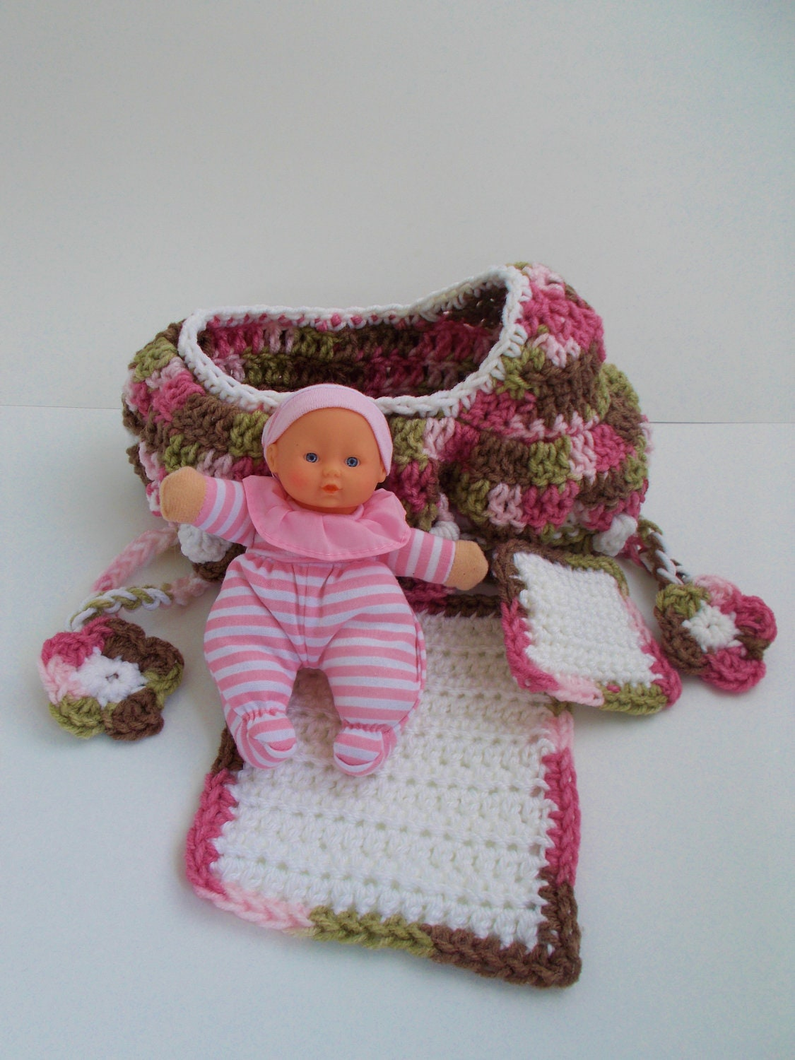 Crochet Cradle Purse Baby Doll Blanket and by fifthofanickel
