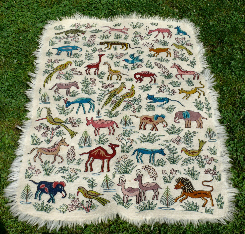 Vintage Animal Print Hand Emboridery Area Rug Kashmiri By