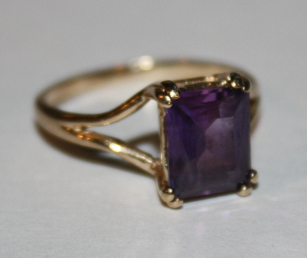 Vintage Bands: Vintage Amethyst Ring 10K Yellow Gold Ring By