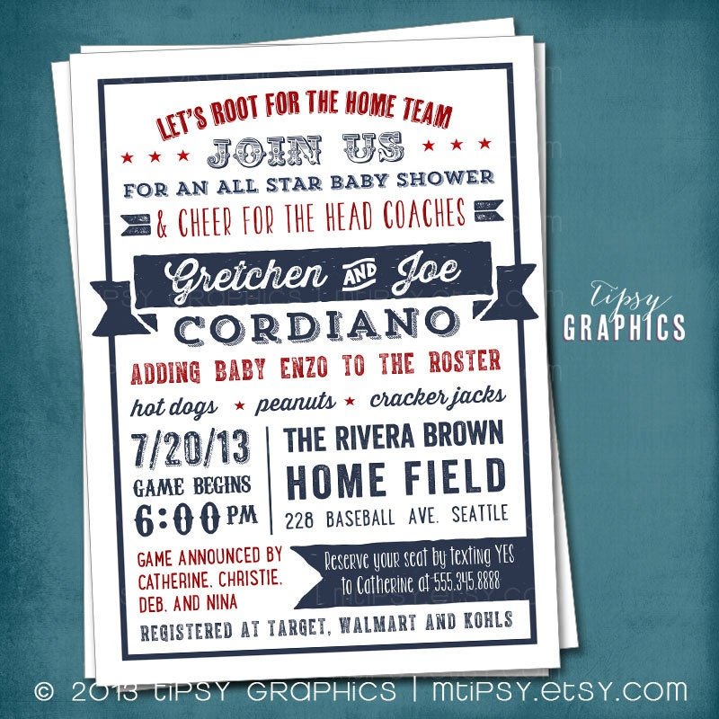 baby or wedding shower americana sports themed baby shower invitation