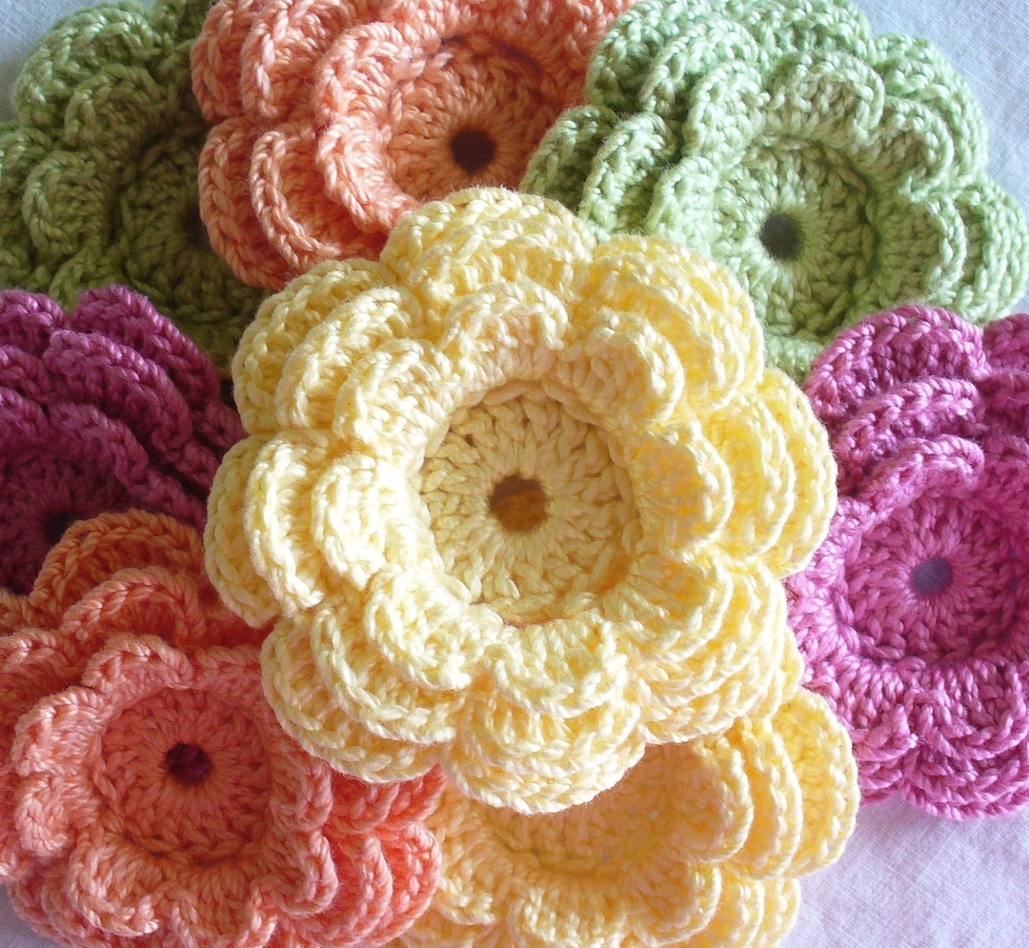 Free Crochet Pattern Three Layer Flower : Crochet Embellishments Large Three-Layer Flowers by ...