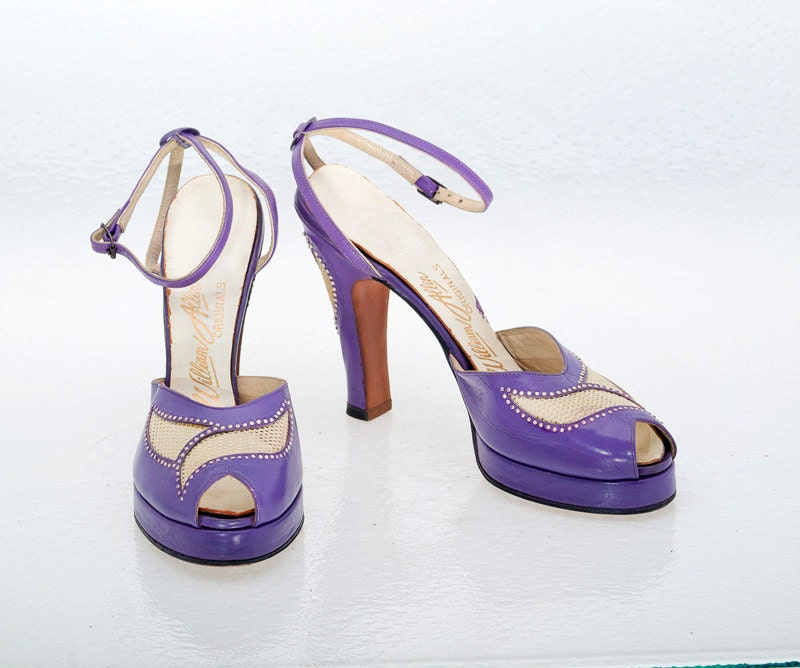 vintage shoes 40s purple leather platform by