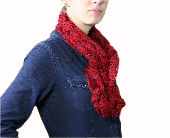 Red Knit Scarf  Women Teens Accessories  Fall Winter Fashion  Knit Scarves For Teenagers