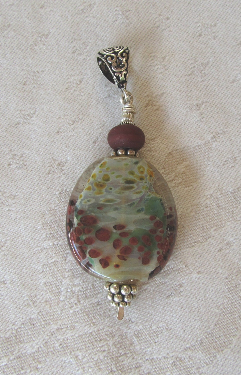 Organic Green and Brown Glass Pendant, Distinctive Artisan Bead That Mimics Nature, Lots of Sterling Accents, Large Pendant - JemsbyJoan