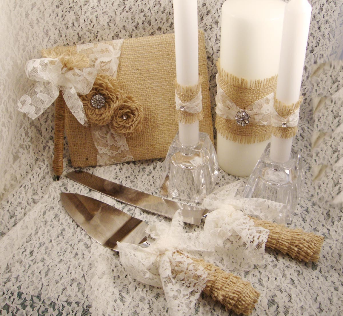 Rustic Burlap Wedding Cake Servers Unity Candle Wraps by