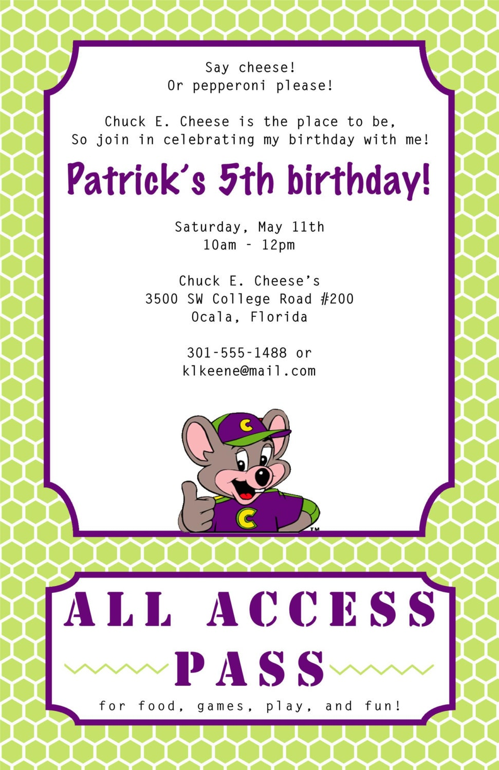 Chuck E Cheese Birthday Invitations can inspire you to create best invitation template