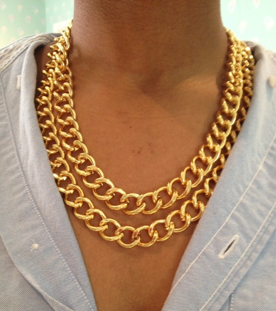 chunky double gold chain link necklace by worldoftashii on