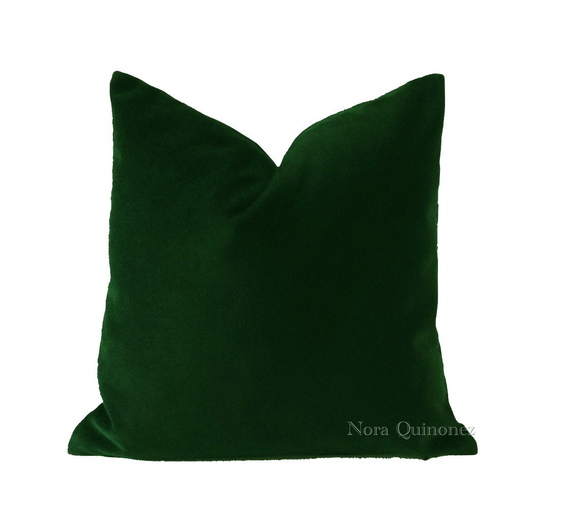 18x18 Hunter Green Cotton Velvet Throw Pillow by NoraQuinonez