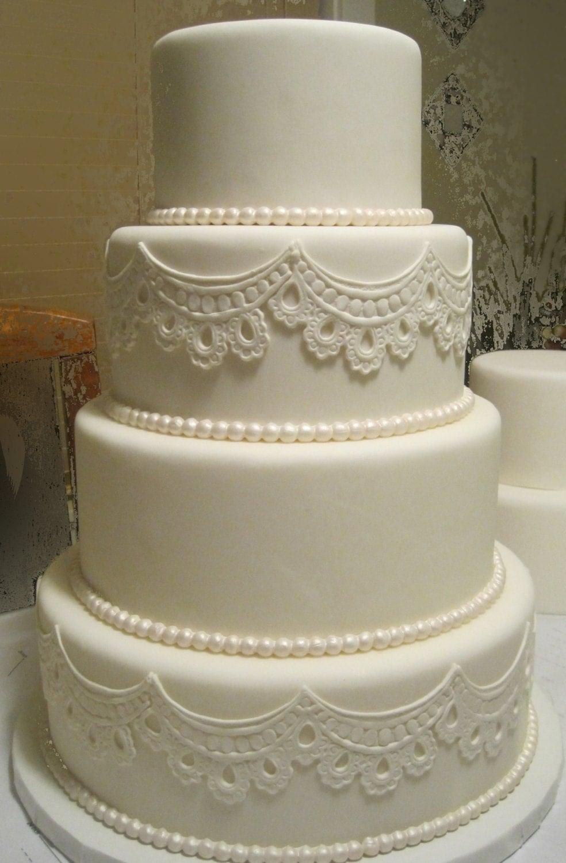 Four Tier Fondant Wedding Cake (artificial) - SUGARonTOPsugarart