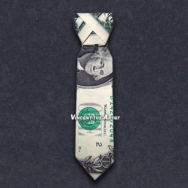 Dollar Origami Dress Shirt With Tie