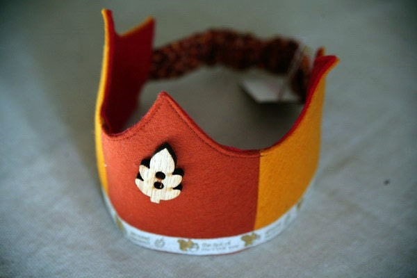 Wool Felt Crown - Squirrel and Oak Leaf