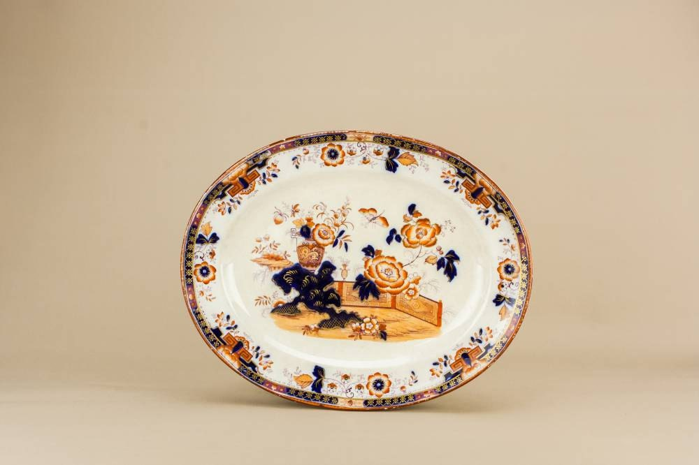 Spectacular Pottery Floral Medium Serving PLATTER Dish Table Orange Blue And White Antique English Mid 19th Century LS