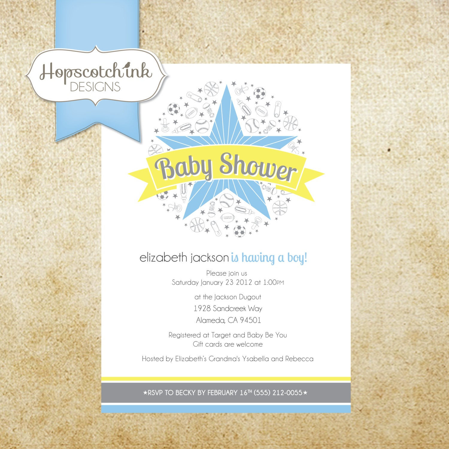 sports all star themed baby shower invitation personalized and