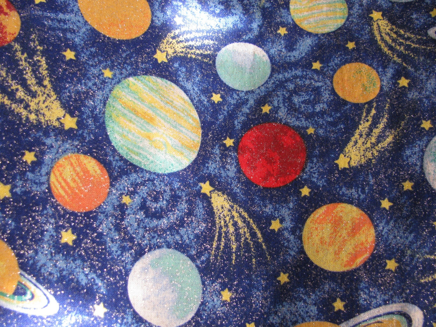 Outer space fabric curtain stars planets stars by for Space cotton fabric