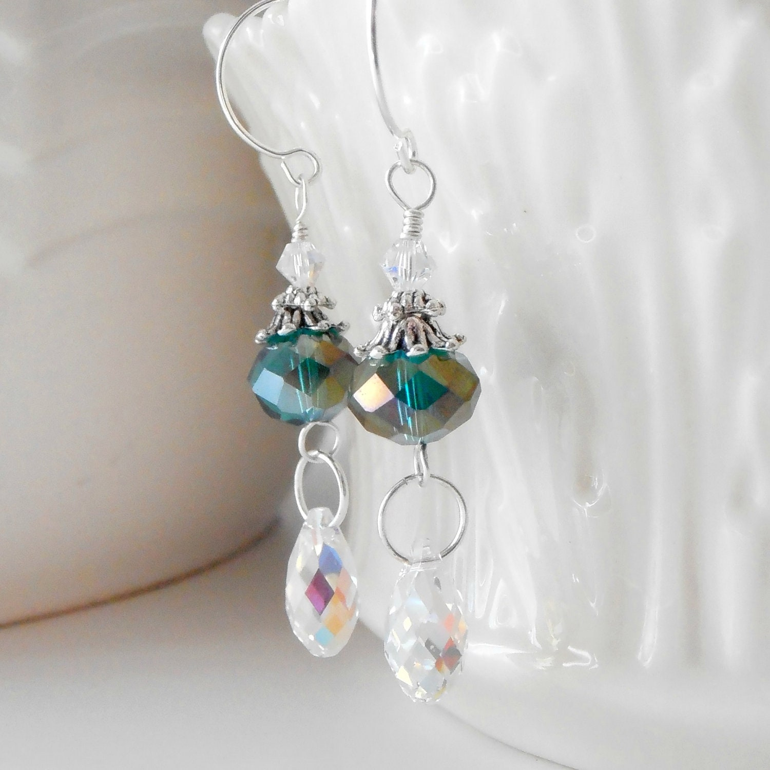 Crystal Dangle Earrings Teal Earrings Beaded  ...