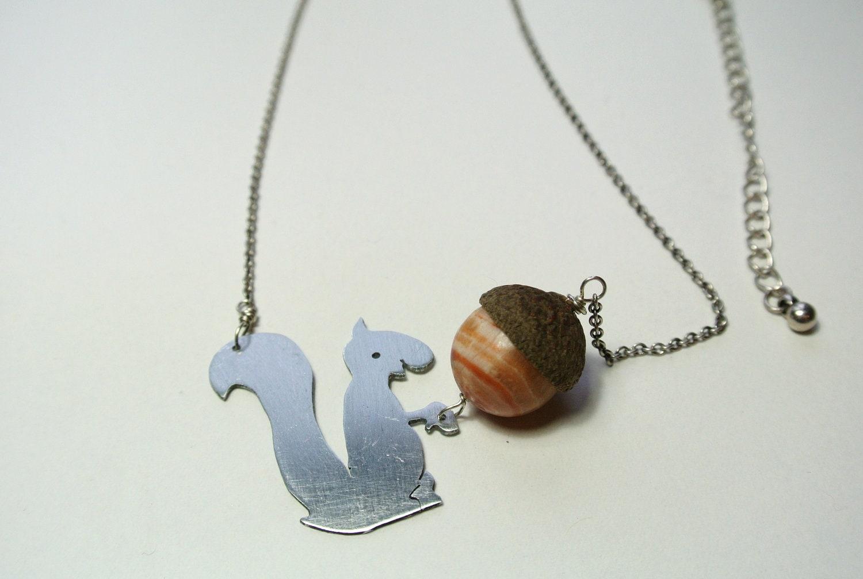 Harry the hungry squirrel necklace real acorn cap, jasper, zinc (42 cm extension 7,5 cm) - JolyJewels