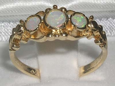 14K Solid Yellow Gold Natural Opal Georgian Style Trilogy Anniversary Ring  Made in England Customize9K14KYellowRoseWhite