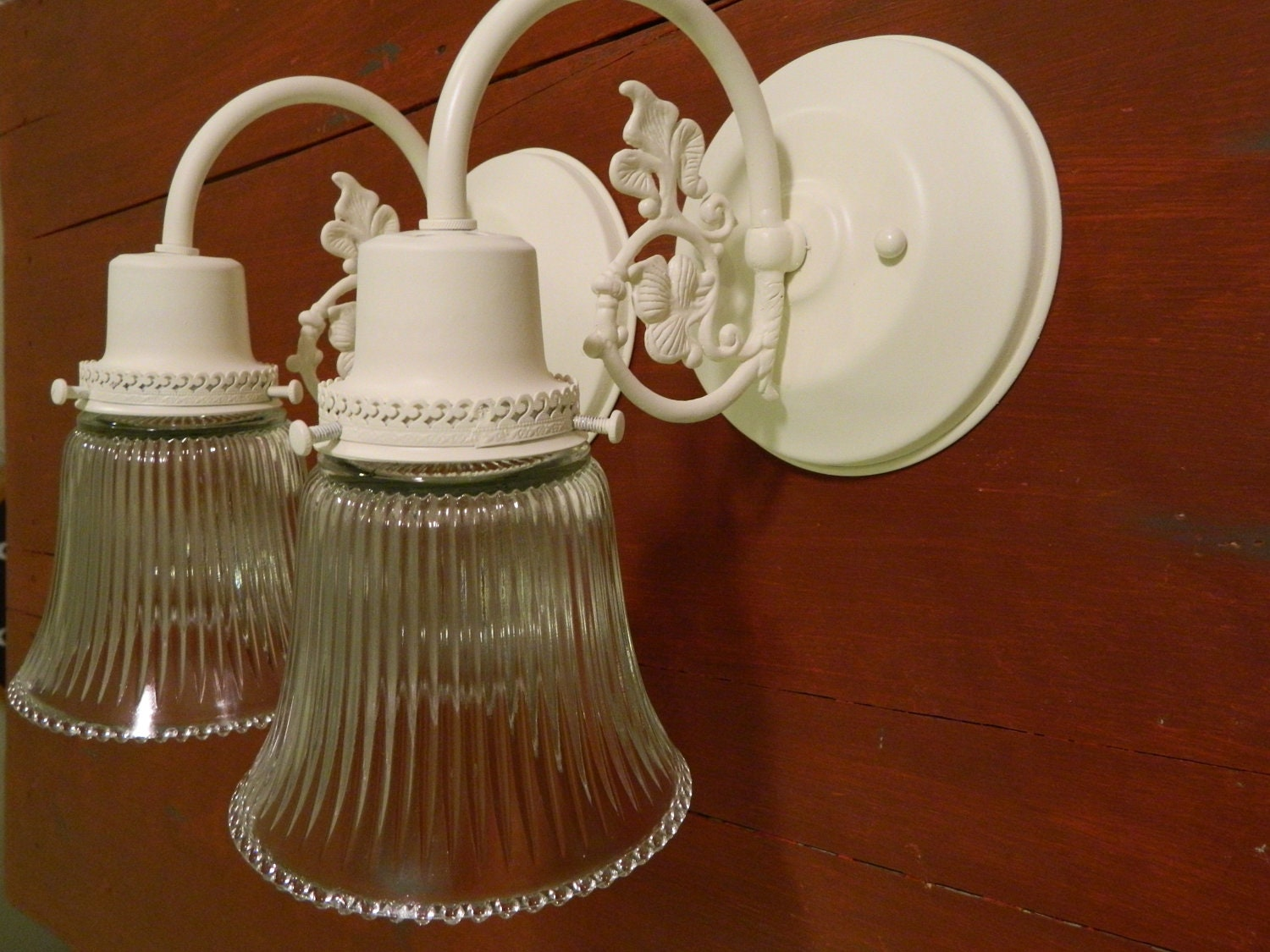Bathroom Vanity Lights Etsy : Upcycled Pair Of Cream Shabby Chic Ornate Wall by VarleysVintage