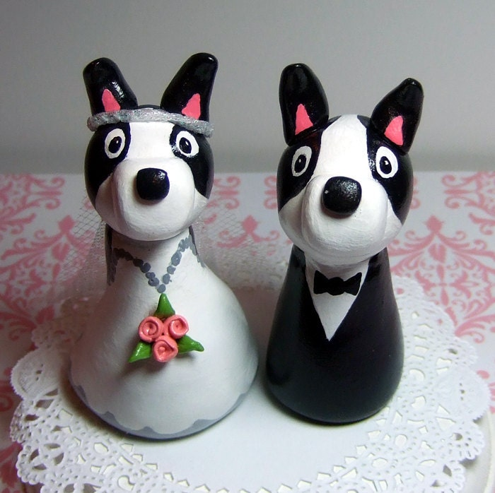 Wedding Cake Topper Boston Terrier Dogs Bride and Groom Figurine Couple