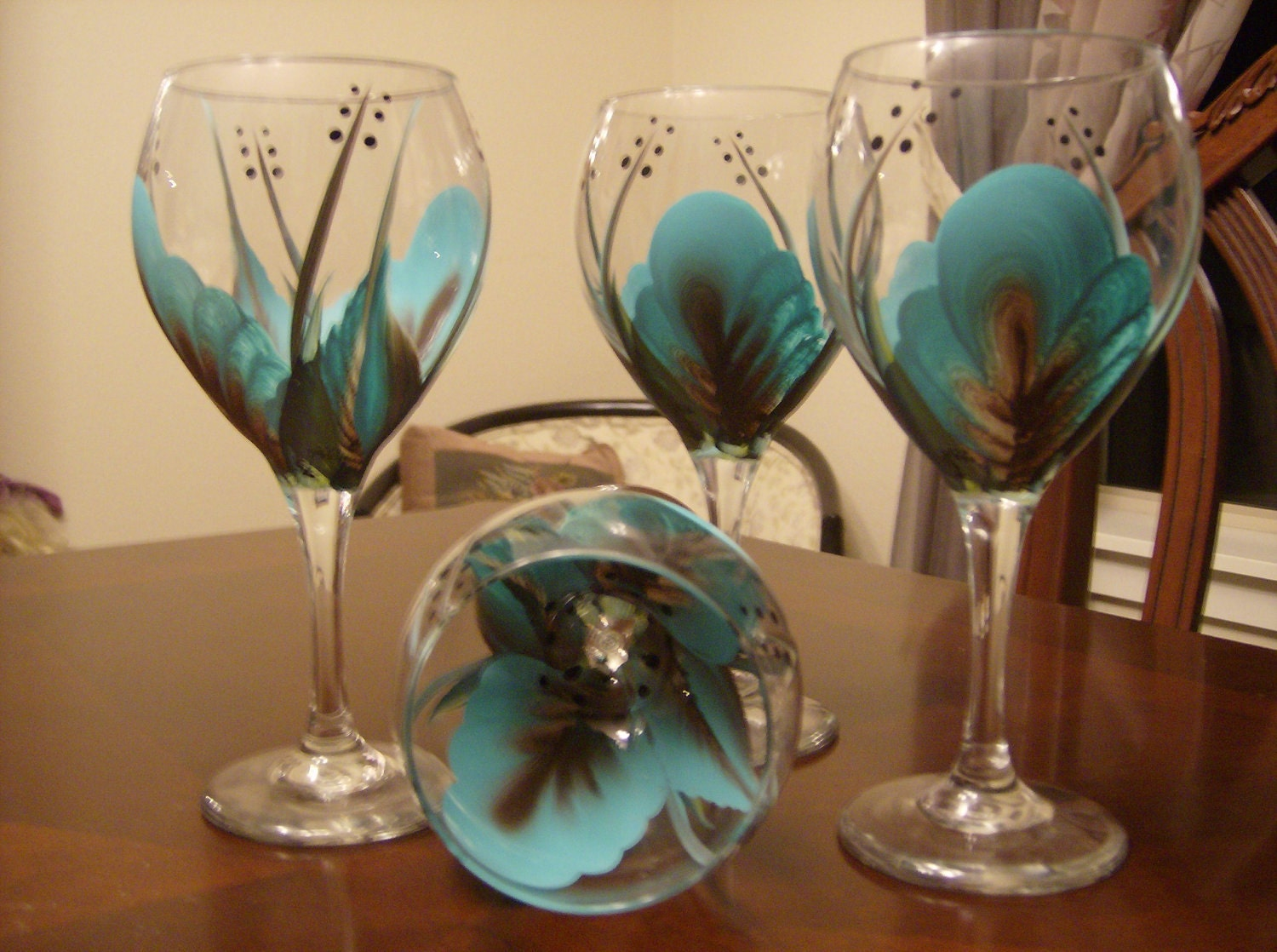 Wine glasses goblet turquoise and brown by simplethingsbykathy for Wine glass ideas