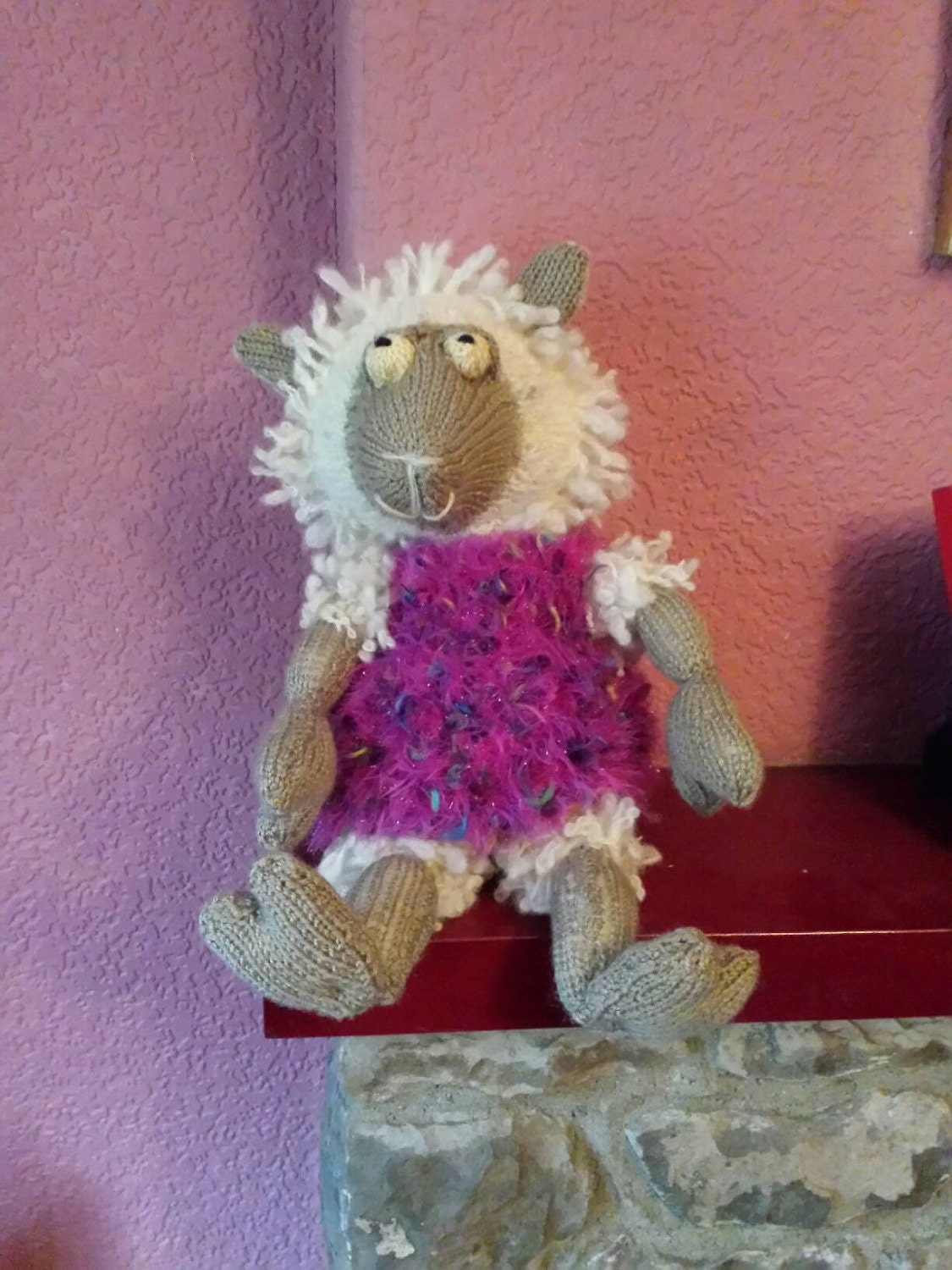 Childs cuddly toy lambfarm animalhand knitted toy lambchilds birthday gifttoddlers birthday giftoriginal toy lamb