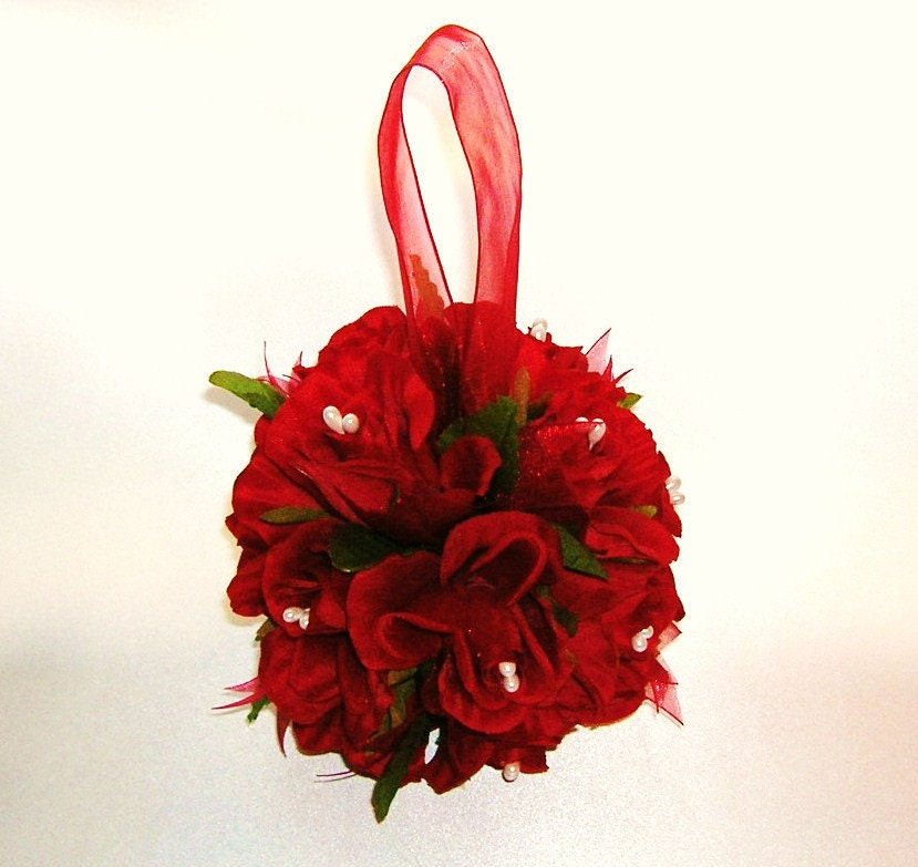 Red rose pomander kissing ball wedding decoration by sljbridal