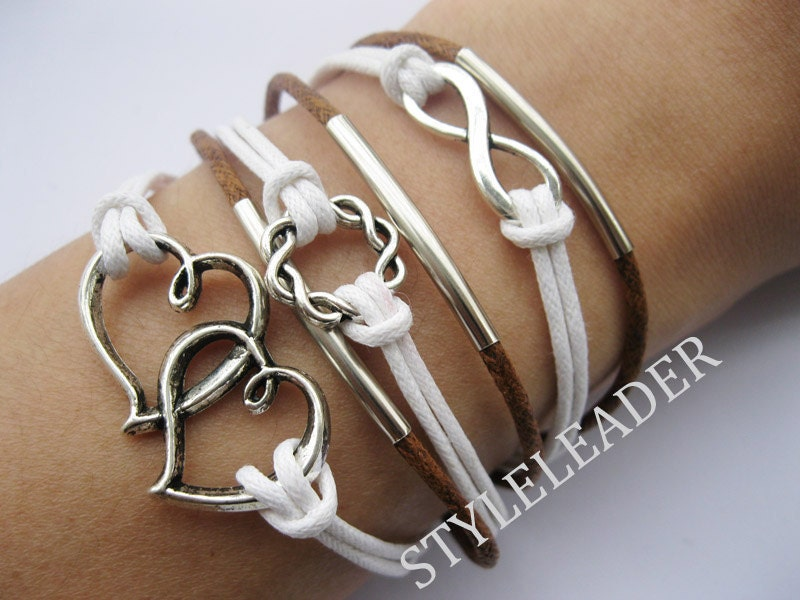 Bracelet-antique silver infinity bracelet,karma Bracelet,heart to heart bracelet