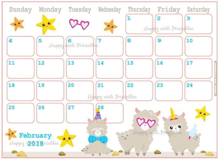 Printable February 2018 Calendar Seasonal monthly calendar