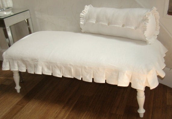 Items similar to bench slipcover with simple knife pleat skirt toy