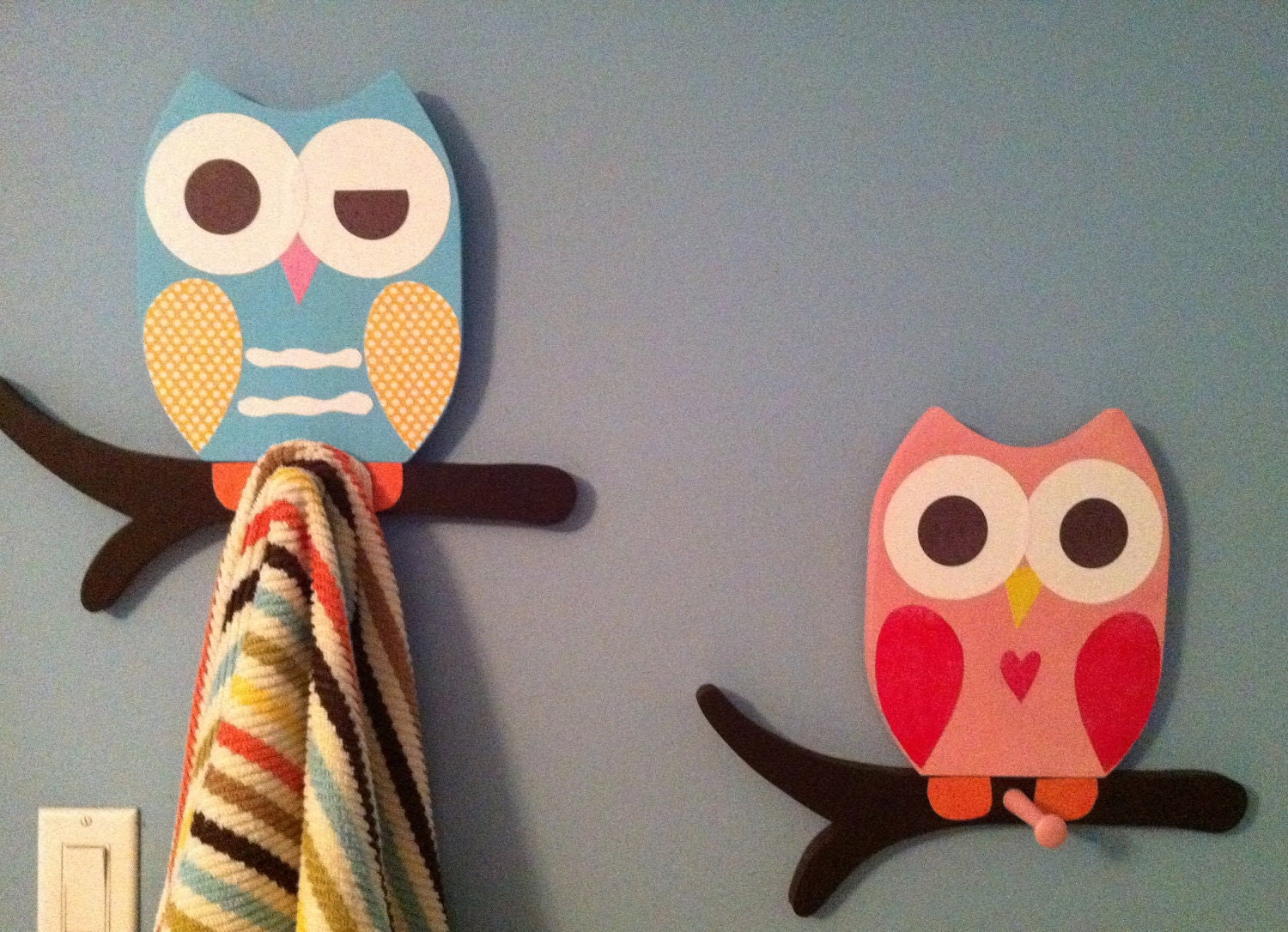 Owl towel racks matches saturday knight owl by thewoodenowl - Owl bathroom decorations ...